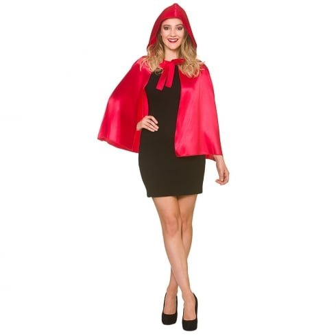 Wicked Costumes Short Satin Hooded Cape Red