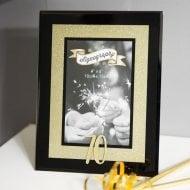 "Signography Gold Glitter 4 x 6"" 70th Black Glass Photo Frame"