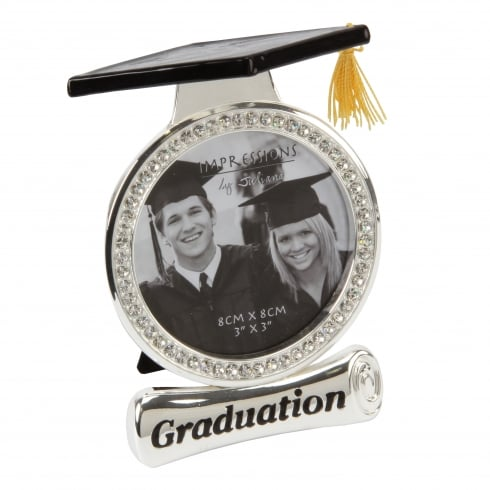 Impressions By Juliana Silver Diamante Graduation 3 x 3 Photo Frame With Hat Top