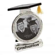 Silver Diamante Graduation 3 x 3 Photo Frame With Hat Top