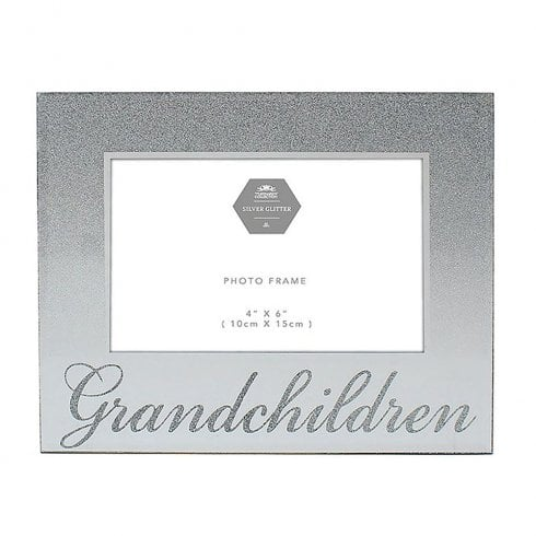 Leonardo Collection Silver Glitter Grandchildren Photo Frame 4 x 6