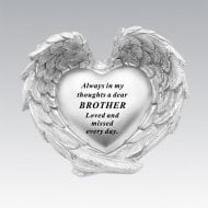 Silver Heart In Wings Brother Remembrance Memorial Ornament
