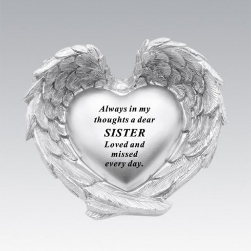 David Fischhoff Silver Heart In Wings Sister Remembrance Memorial Ornament