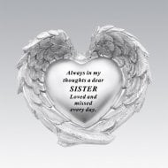 Silver Heart In Wings Sister Remembrance Memorial Ornament