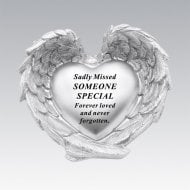 Silver Heart In Wings Someone Special Memorial Ornament