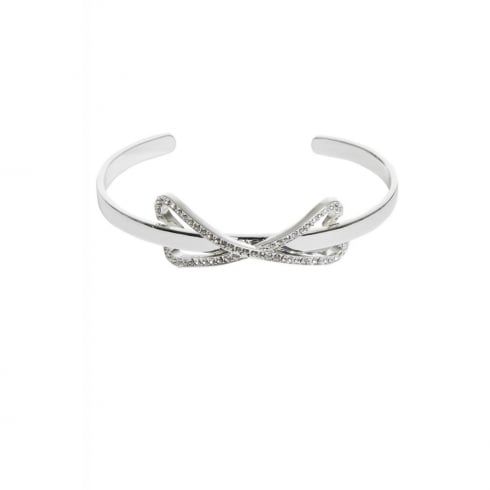 Miss Dee Silver Plated Bangle with Diamante Bow