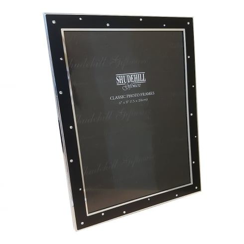 Shudehill Giftware Silver Plated Diamante Black 6 x 8 Photo Frame