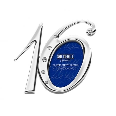 Shudehill Giftware Silver Plated Diamante Number 16th Birthday 2 x 5 Photo Frame