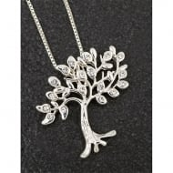 Silver Plated Diamante Tree Of Life Necklace
