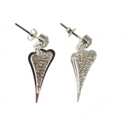 Silver Plated Earring with 2 Solid and Diamante Drop Hearts