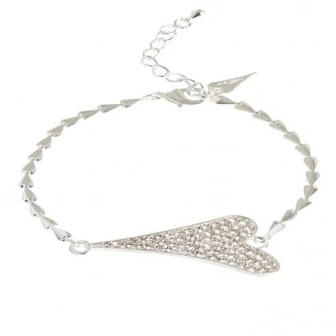 Miss Dee Silver Plated Heart Chain Bracelet with Diamante Heart