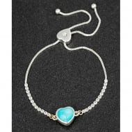 Silver Plated Heart Friendship Bracelet Amazonite