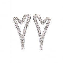 Silver Plated Hollow Heart with Diamante Face Stud Earring
