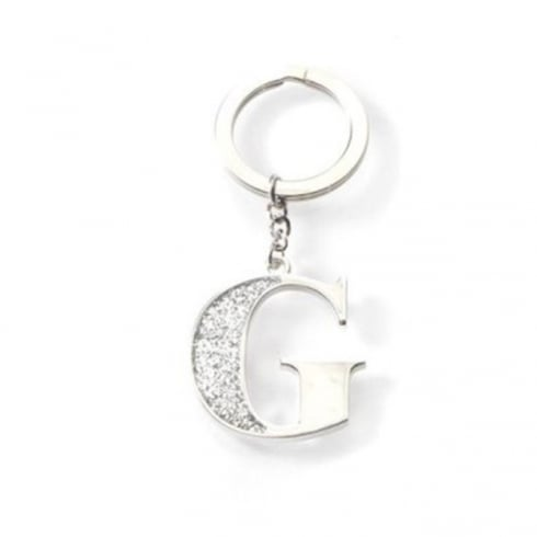 Silver Options Silver Plated Letter G Glitter Keyring