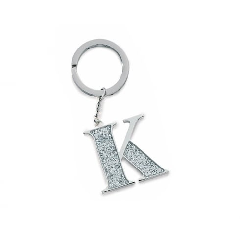 Silver Options Silver Plated Letter K Glitter Keyring