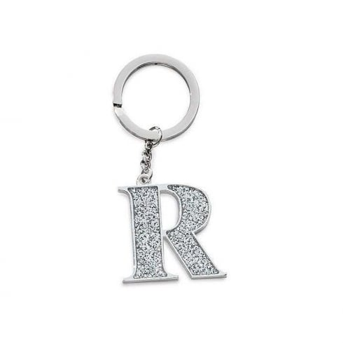 Silver Options Silver Plated Letter R Glitter Keyring