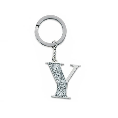 Silver Options Silver Plated Letter Y Glitter Keyring