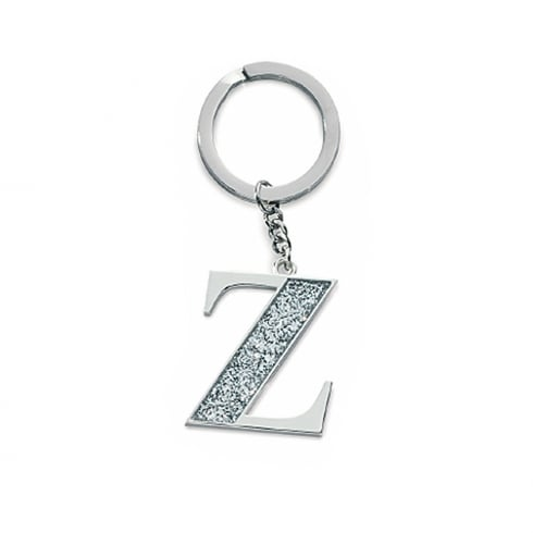 Silver Options Silver Plated Letter Z Glitter Keyring