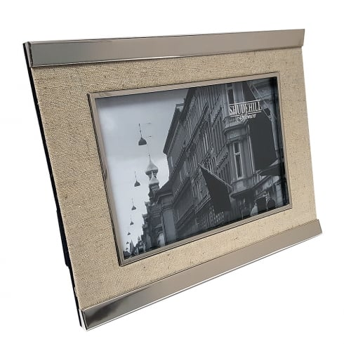 Silver Plated & Linen 5 x 7 Photo Frame