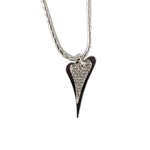 Miss Dee Silver Plated Long Necklace with 2 Solid and Diamante Hearts