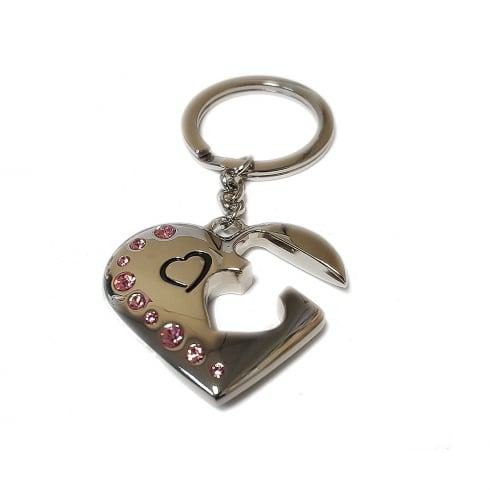Silver Options Silver Plated Love Heart Keyring