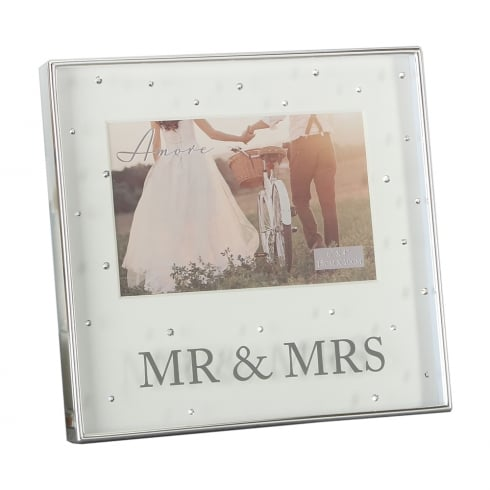 53098b7f000a Silver Plated Mr   Mrs 6 x 4 Box Photo Frame With Crystals WG64664
