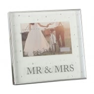 Silver Plated Mr & Mrs 6 x 4 Box Photo Frame With Crystals