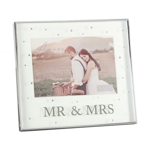 amore silver plated mr mrs 7 x 5 box photo frame with crystals - Mr And Mrs Frame