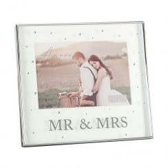 Silver Plated Mr & Mrs 7 x 5 Box Photo Frame With Crystals