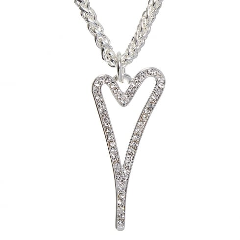 Miss Dee Silver Plated Necklace with Hollow Heart and Diamante Face