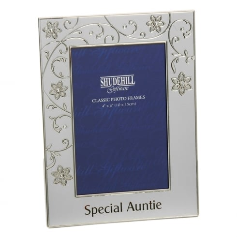 Shudehill Giftware Silver Plated Petal Jewel Auntie 4 x 6 Photo Frame