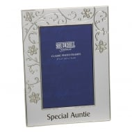 Silver Plated Petal Jewel Auntie 4 x 6 Photo Frame