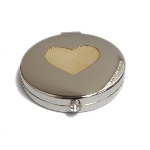 Silver Options Silver Plated Round Compact Mirror With Heart