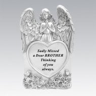 Silver Praying Angel Heart Brother Memorial Standing Plaque