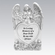 Silver Praying Angel Heart Dad Memorial Standing Plaque