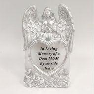 Silver Praying Angel Heart Mum Memorial Standing Plaque