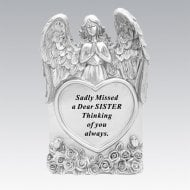 Silver Praying Angel Heart Sister Memorial Standing Plaque