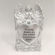Silver Praying Angel Heart Someone Special Memorial Standing Plaque