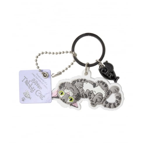Wags & Whiskers Silver Tabby Cat Crazy Keyring