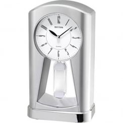Silver Tone Contemporary Motion Mantel Clock With Classic Pendulum