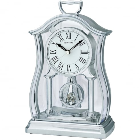 Widdop Bingham Silver Tone Mantel Clock with Inset Glass Pendulum