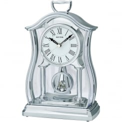 Silver Tone Mantel Clock with Inset Glass Pendulum