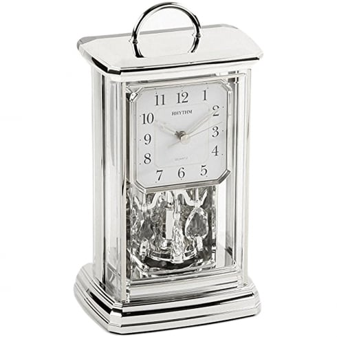 Widdop Bingham Silver Tone Spinning Pendulum Anniversary Carriage Clock with Arabic Dial
