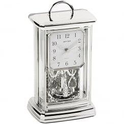 Silver Tone Spinning Pendulum Anniversary Carriage Clock with Arabic Dial