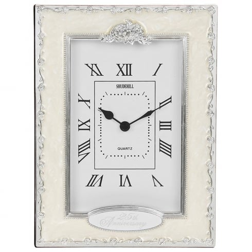 Shudehill Giftware Silver Wedding 25th Anniversary Celebration Quartz Clock