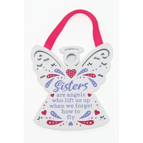 Reflective Words Sisters Are Angels Hanging Plaque