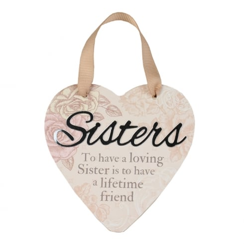 Reflective Words Sisters Hanging Heart