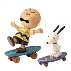 Skateboarding Buddies Charlie Brown & Snoopy Figurines (Set of 2)