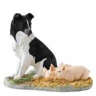 Sleeping Babes Border Collie Dog & Piglets Figurine
