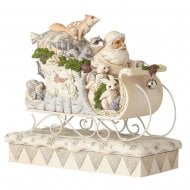 Sleigh Ride Season White Woodland Santa